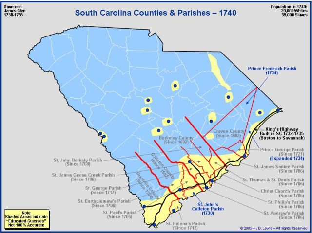 South Carolina counties in 1740