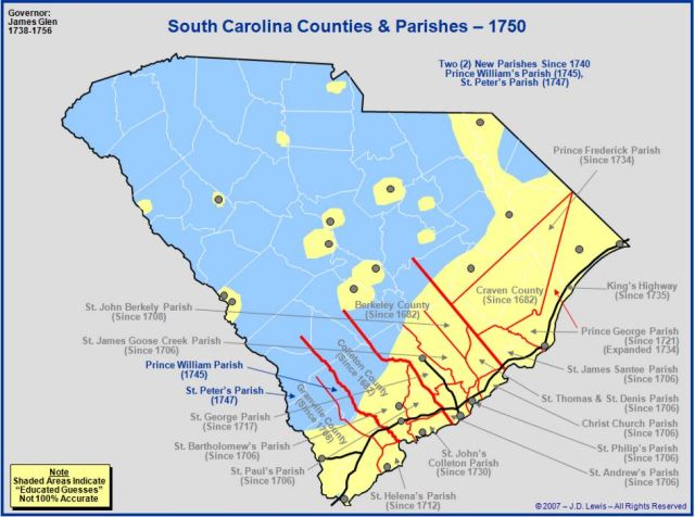 South Carolina counties in 1750
