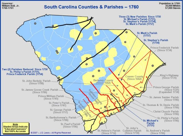 South Carolina counties in 1760