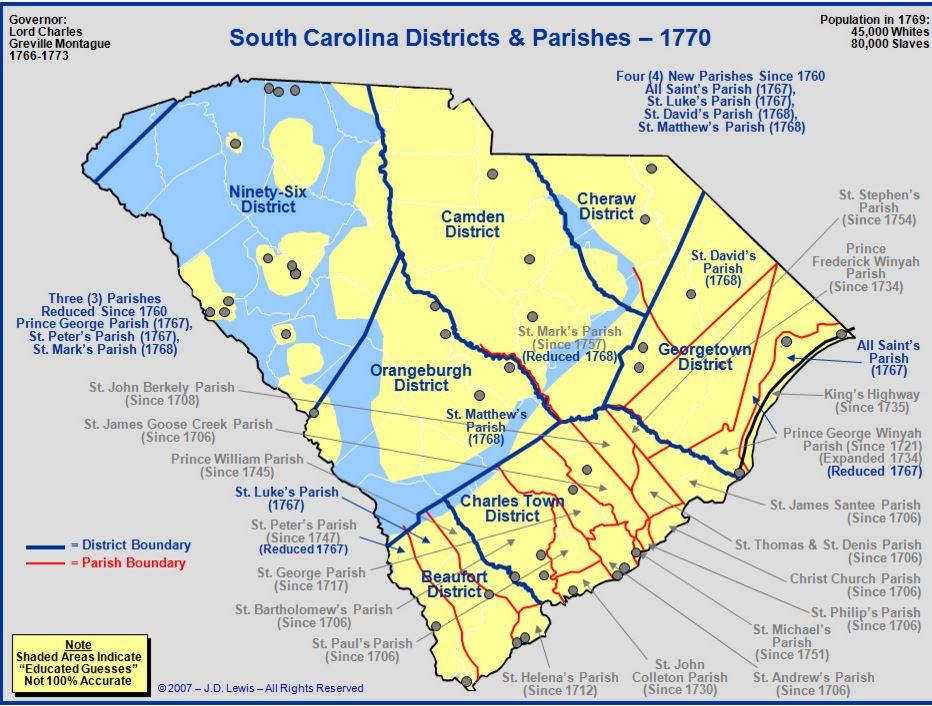 Map south carolina 1770 counties goyen family tree south carolina counties in 1770 publicscrutiny Gallery
