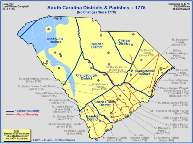 South Carolina counties in 1775