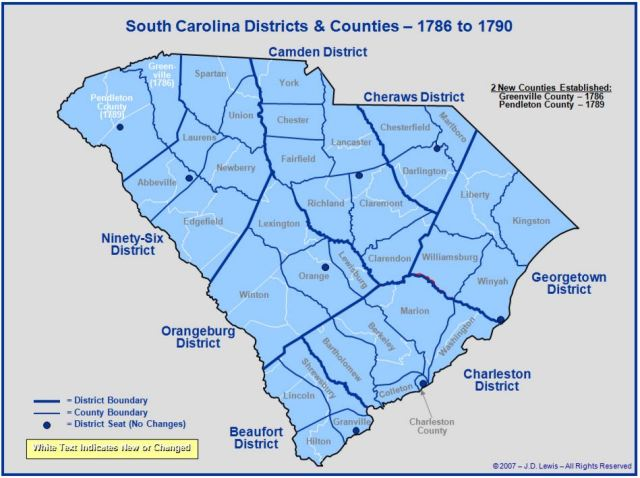 South Carolina counties in 1786