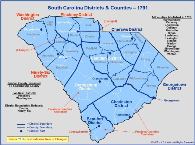 South Carolina counties in 1791