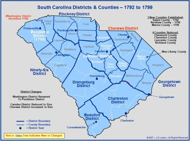 South Carolina counties in 1792