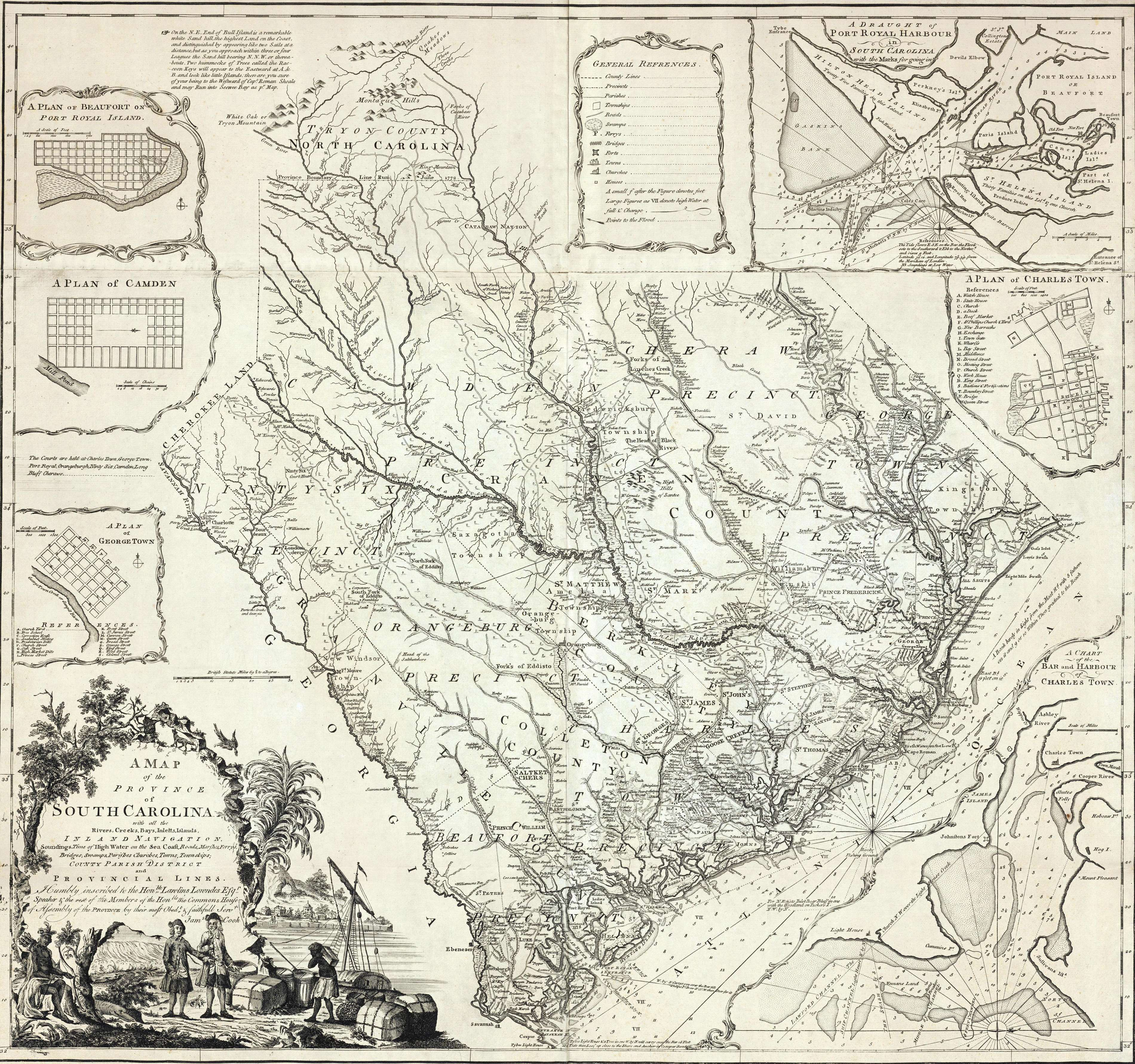 South Carolina Historical Maps Map South Carolina 1773 Historic map of South Carolina with some