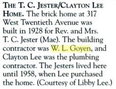 TC Jester Home W L Goyen description