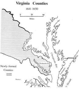 Virginia counties 1641 to 1650