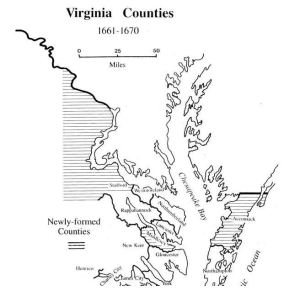Virginia counties 1661 to 1670