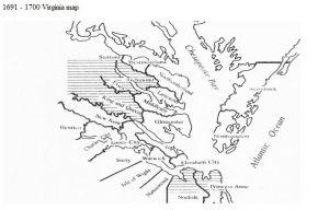 Virginia counties 1691 to 1700