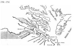 Virginia counties 1700 to 1710
