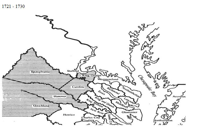 Map Virginia 1721 to 1730 Counties | Goyen Family Tree