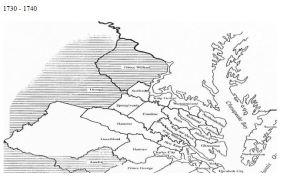 Virginia counties 1730 to 1740