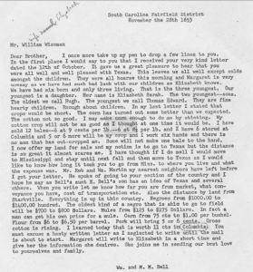 Wm and MM Bell letter to William Wiseman in Nov 1853 transcript only