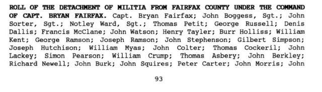 1757 John Gown in Fairfax militia p1