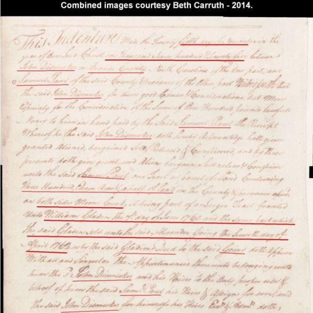1762 Apr 7 Wm Gladden conveys to Alexander Going in NC p1