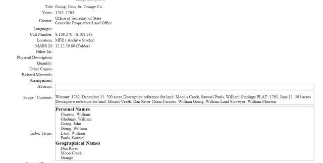 1762 Dec 15 John Going Sr 505 acres Orange Co NC