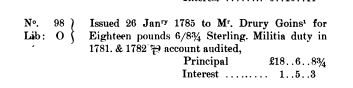 1781 - 1782 1785 Stub entries to indents issued in payment of claims for Drury Going service in Revolution