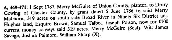 1787 Drury Gowing buying land from Merry McGuire snipped