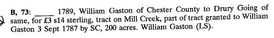 1789 William Gaston convey prop to Drury Going