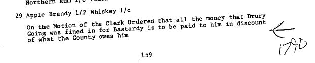 1790 money for Bastardry to be taken from money owed to Drury Going
