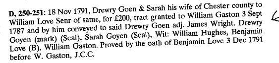 1791 Drury Goen conveys land to William Love