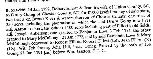 1792 Robert Elliott conveys land to Drury Going for 1000 pounds