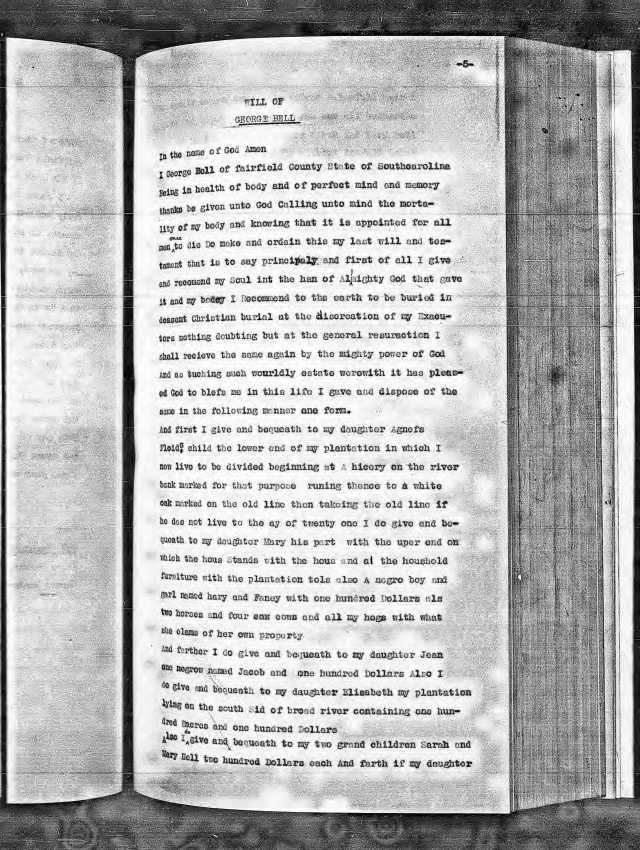 1800 George Bell will transcribed Fairfield p1