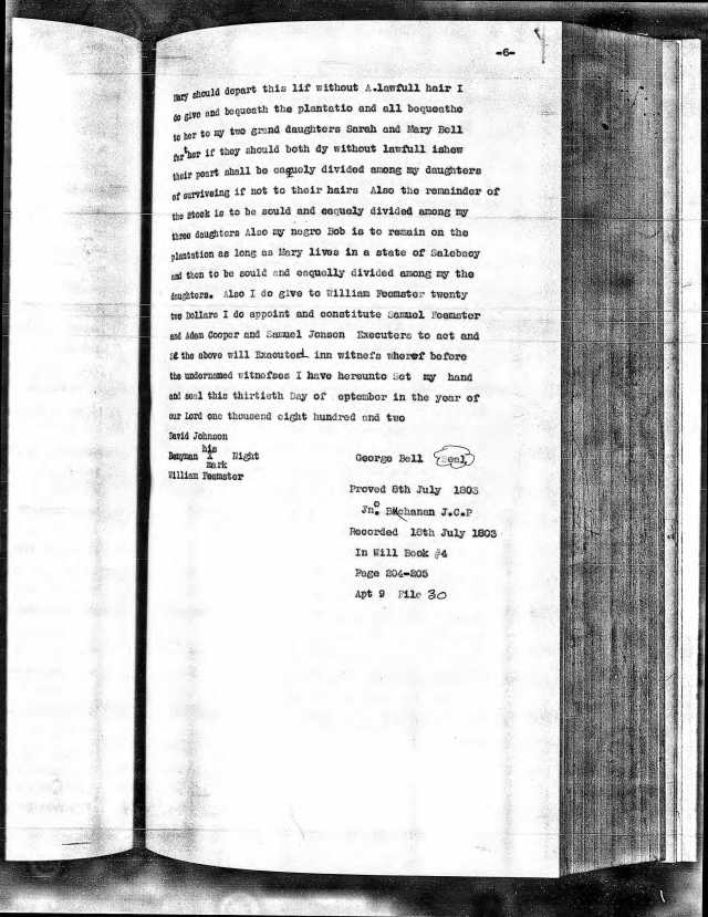 1800 George Bell will transcribed Fairfield p2