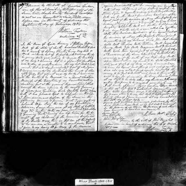 1803 William Rason Bell will SC