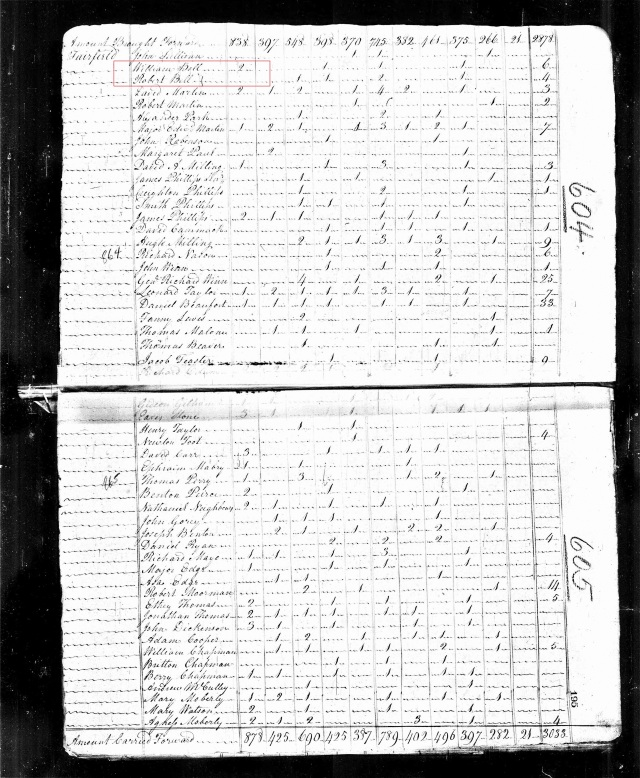 1810 US Census in Fairfield SC w William Bell Sr and Robert Bell