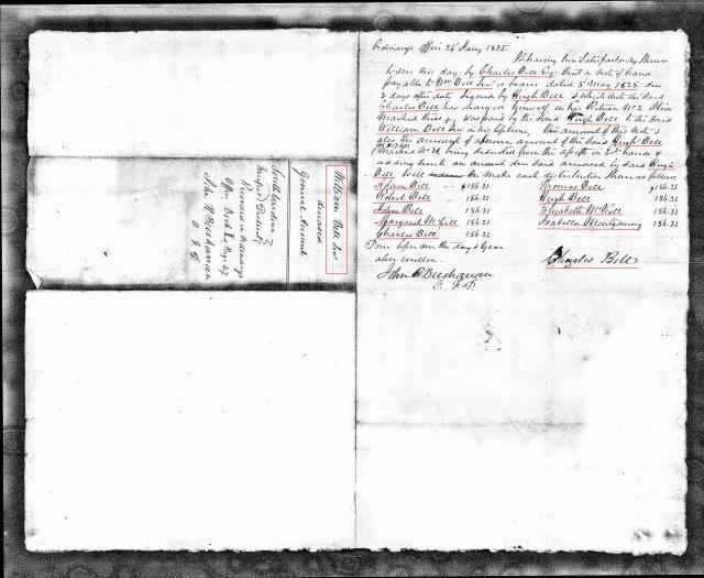 1835 William Bell settlement