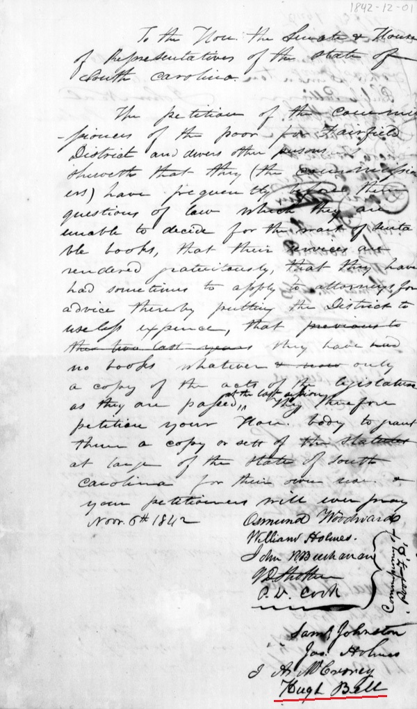 1842 Petition in SC signed by Hugh Bell and Wm Watts and others p1