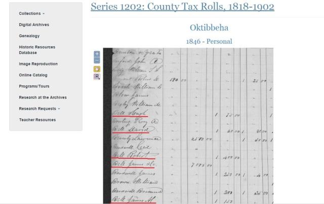 1846 Oktibbeha Co tax rolls w Hugh Bell