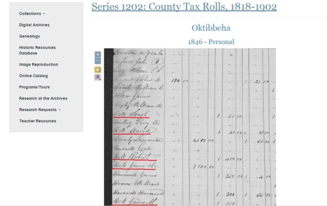 1846 Oktibbeha Co tax rolls w Hugh Bell