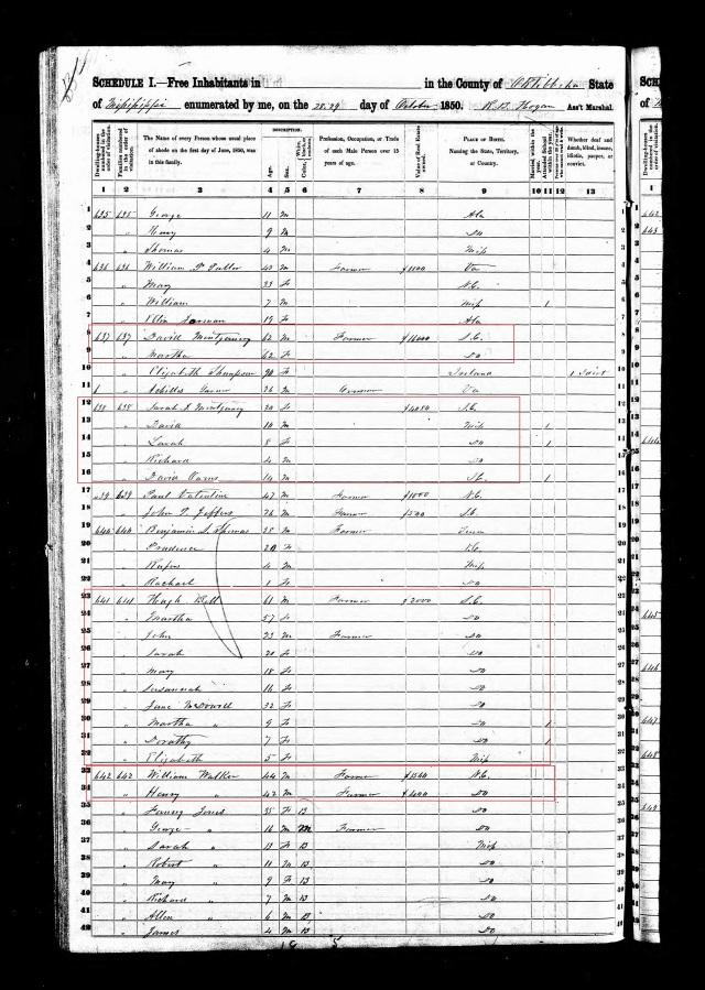 1850 US Census w Hugh Bell in Oktibbeha Co Miss