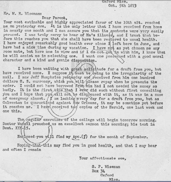 1873 Oct 5 S P Wiseman to W R Wiseman transcript only