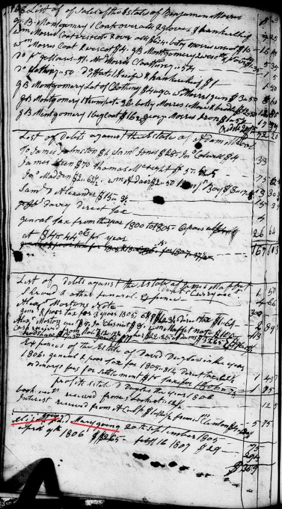 Going, Drury 1807 account paid to Mary in Chester SC marked names