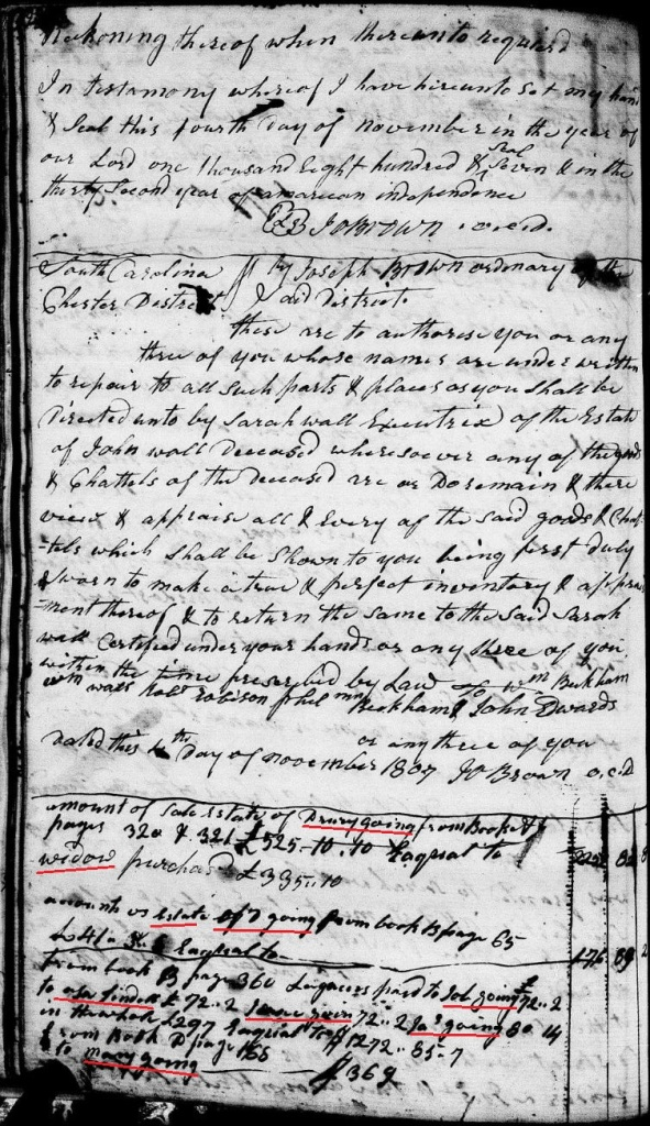Going, Drury 1807 itemization of accounts paid so far on estate Chester SC marked names