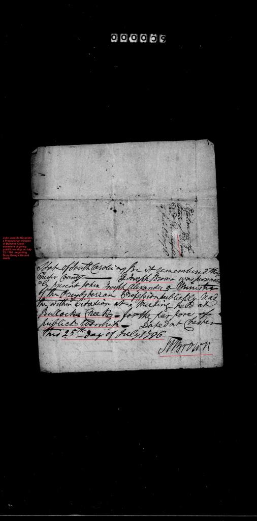 Going, Drury receipt for pmt to Rev Joseph Alexander of Bullocks Creek Church
