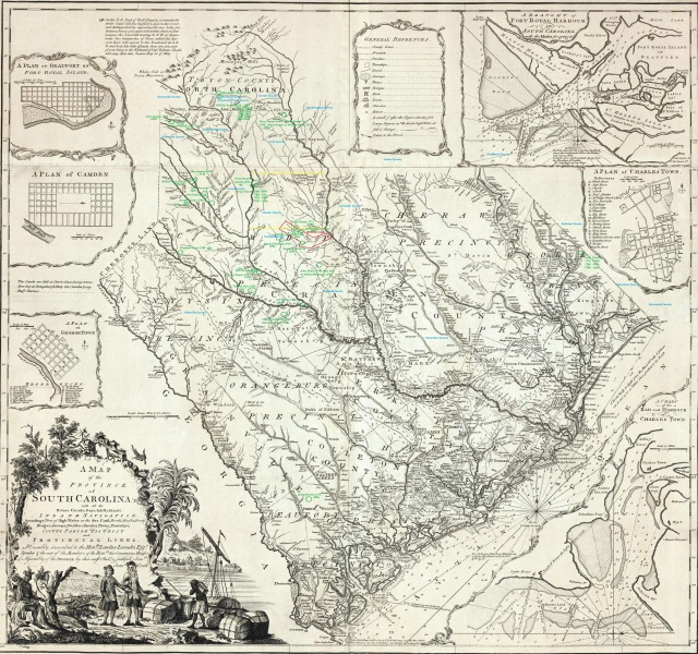 South Carolina Rivers map in 1773 Marked 2
