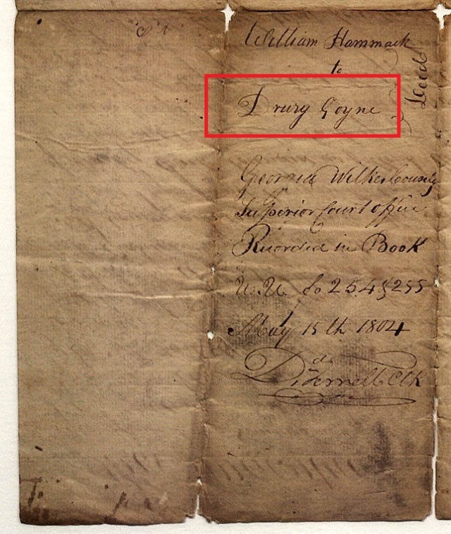 1803 land indenture in Wilkes Co Ga marked