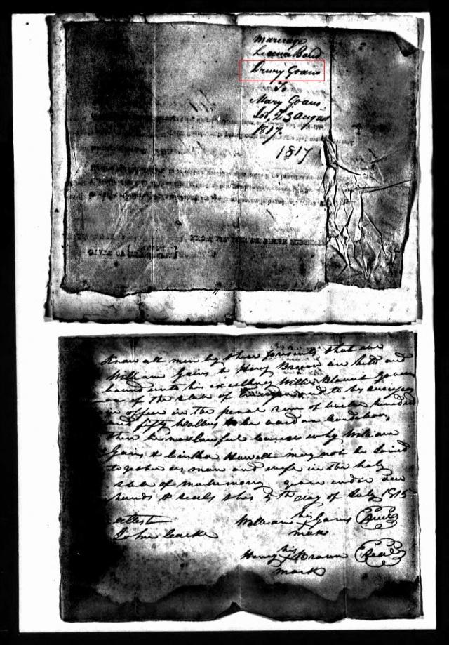 1817 marriage to Mary Goan in Grainger Tenn marked