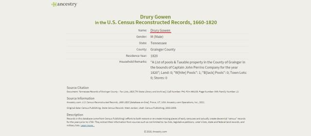 1820 US Census Grainger Tenn