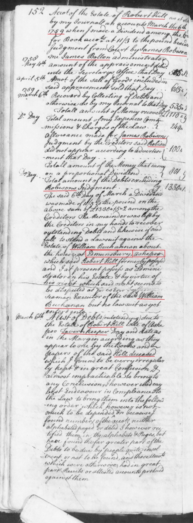 1753 George Gowen listed on Robert Hill estate in SC on Fold3 p1