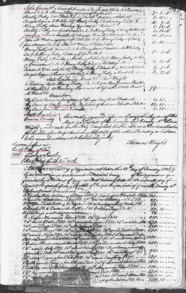 1756 John Gowin in Futhy estate in SC on Fold3 p2
