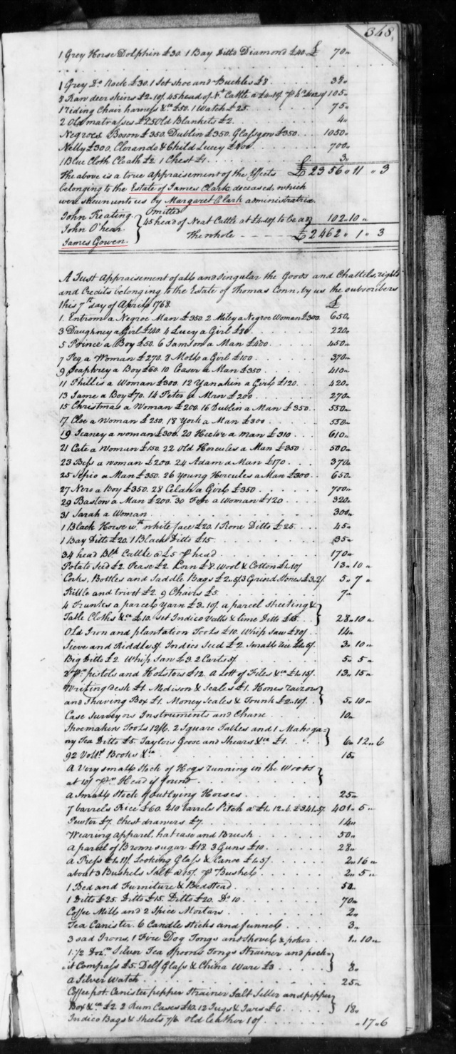 1768 James Gowen on inventory of James Clark estate in SC on Fold3 p2