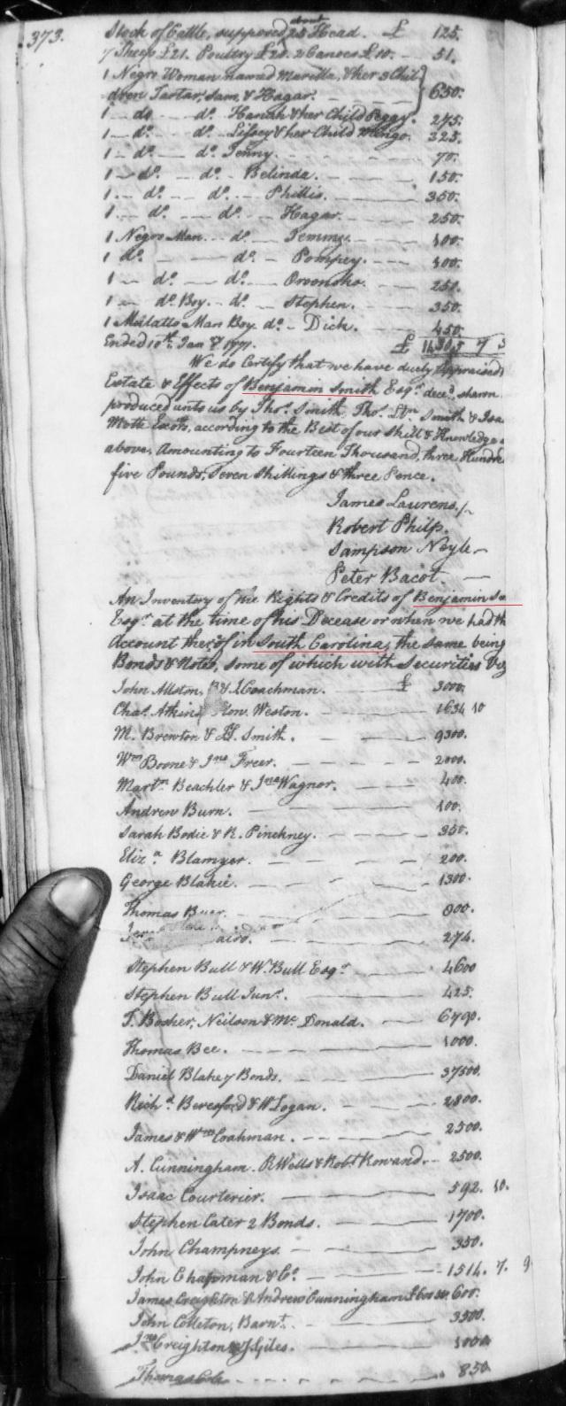 1771 James Gowan in estate of Benj Smith in SC on Fold3 p1