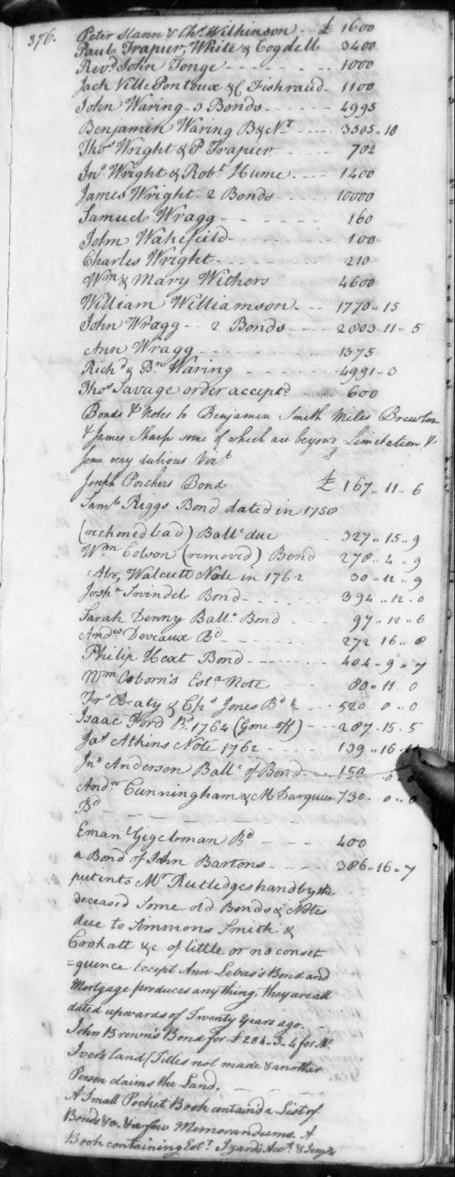 1771 James Gowan in estate of Benj Smith in SC on Fold3 p4