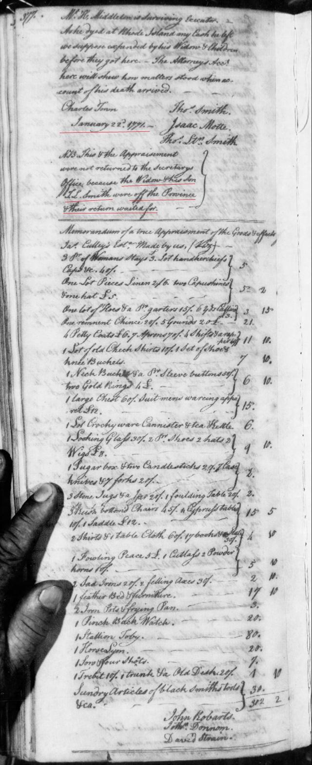 1771 James Gowan in estate of Benj Smith in SC on Fold3 p5