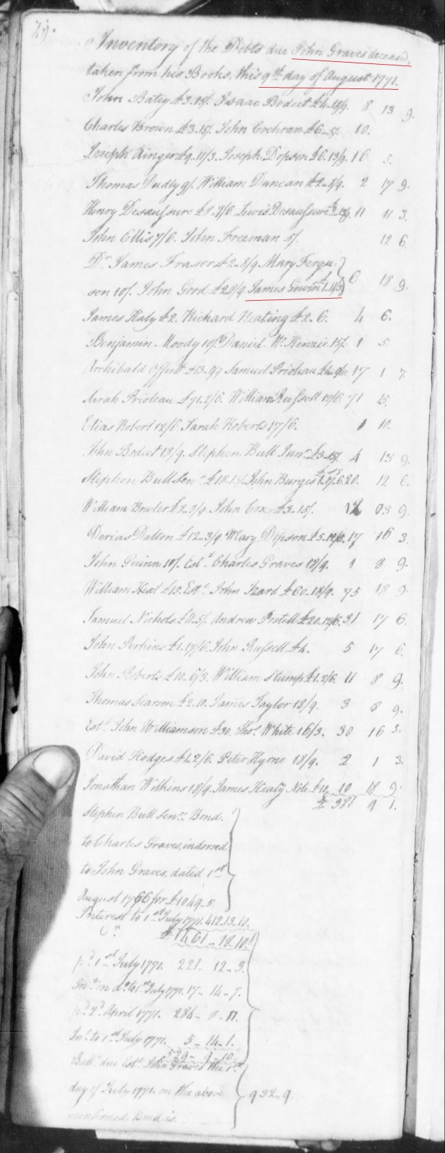 1771 John Gowin listed in John Graves inventory in SC on Fold3